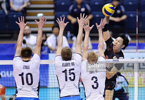 Tatsuya Fukuzawa of Japan in action during the FIVB World League Pool C match between Japan and Finland at Komaki Park Arena on June 16 2013 in...