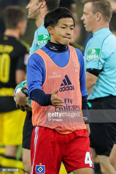 Tatsuya Ito of Hamburg looks on during the Bundesliga match between Hamburger SV and Borussia Dortmund at Volksparkstadion on September 20 2017 in...