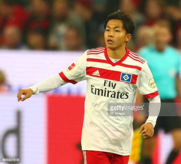 Tatsuya Ito of Hamburg looks on during the Bundesliga match between Bayer 04 Leverkusen and Hamburger SV at BayArena on September 24 2017 in...