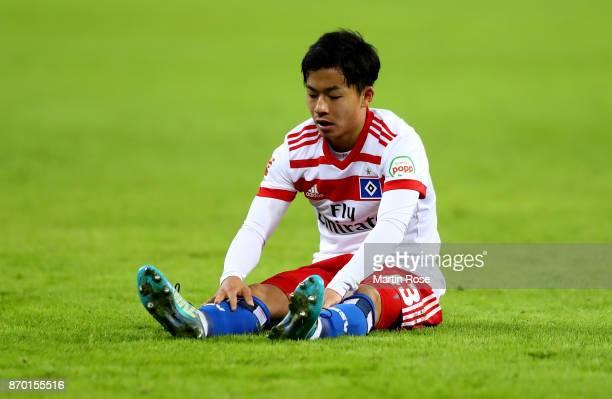 Tatsuya Ito of Hamburg reacts during the Bundesliga match between Hamburger SV and VfB Stuttgart at Volksparkstadion on November 4 2017 in Hamburg...