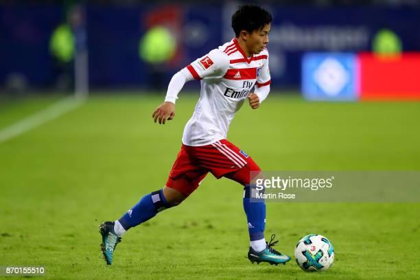 Tatsuya Ito of Hamburg runs with the ball during the Bundesliga match between Hamburger SV and VfB Stuttgart at Volksparkstadion on November 4 2017...