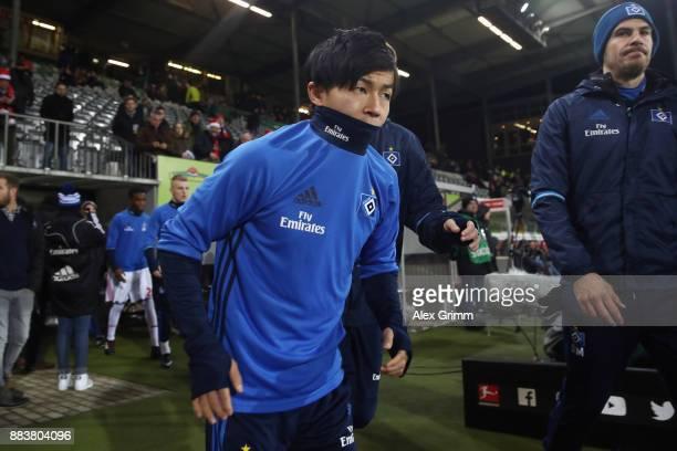 Tatsuya Ito of Hamburg warms up during the Bundesliga match between SportClub Freiburg and Hamburger SV at SchwarzwaldStadion on December 1 2017 in...