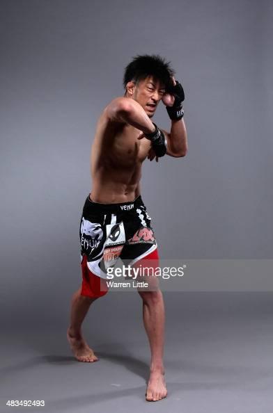 Tatsuya Kawajiri of Japan poses for a portrait during a UFC photo session on April 8 2014 in Abu Dhabi United Arab Emirates