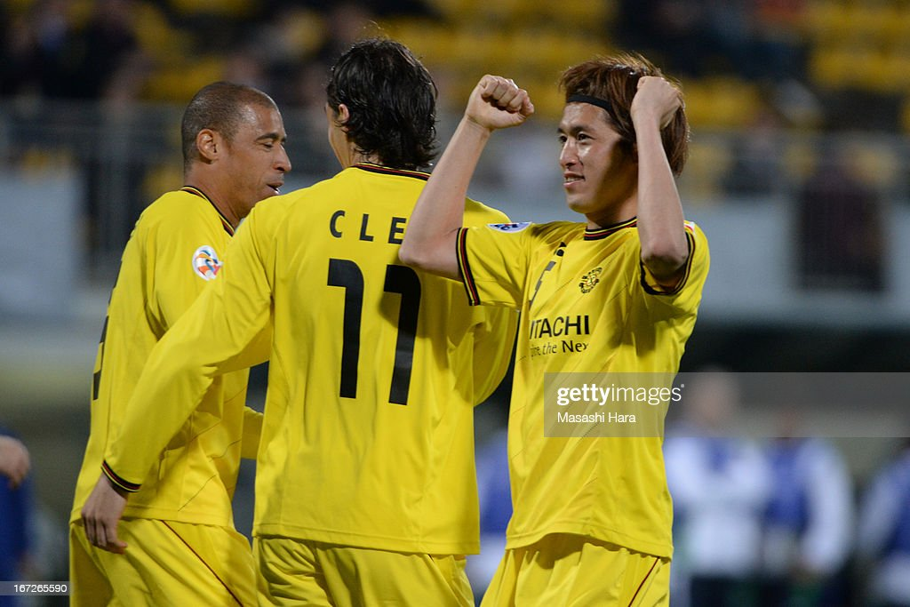 Tatsuya Masushima #5 of Kashiwa Reysol celebrates the first goal during the AFC Champions League Group H match between Kashiwa Reysol and Guizhou Renhe at Hitachi Kashiwa Soccer Stadium on April 23, 2013 in Kashiwa, Japan.
