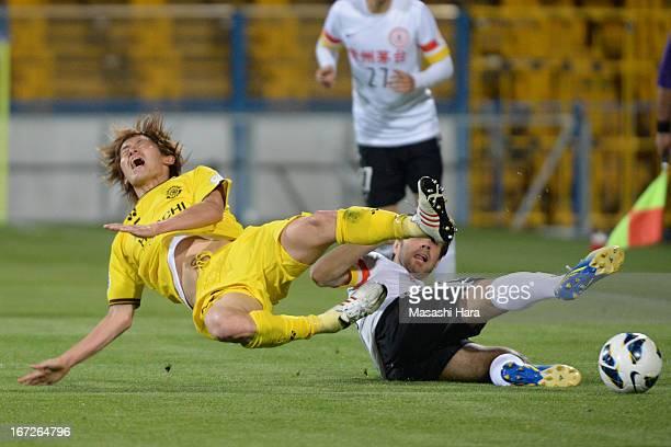 Tatsuya Masushima of Kashiwa Reysol in action during the AFC Champions League Group H match between Kashiwa Reysol and Guizhou Renhe at Hitachi...