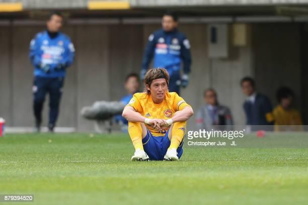 Tatsuya Masushima of Vegalta Sendai shows dejection after the 22 draw in the JLeague J1 match between Vegalta Sendai and Yokohama FMarinos at Yurtec...