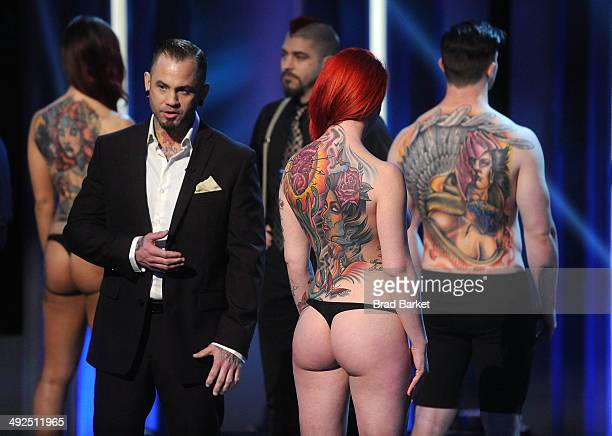 Tatto artist Scott Marshall reacts during Spike TV's 'Ink Master' Season 4 LIVE Finale at SIR Stage 37 on May 20 2014 in New York City Scott Marshall...