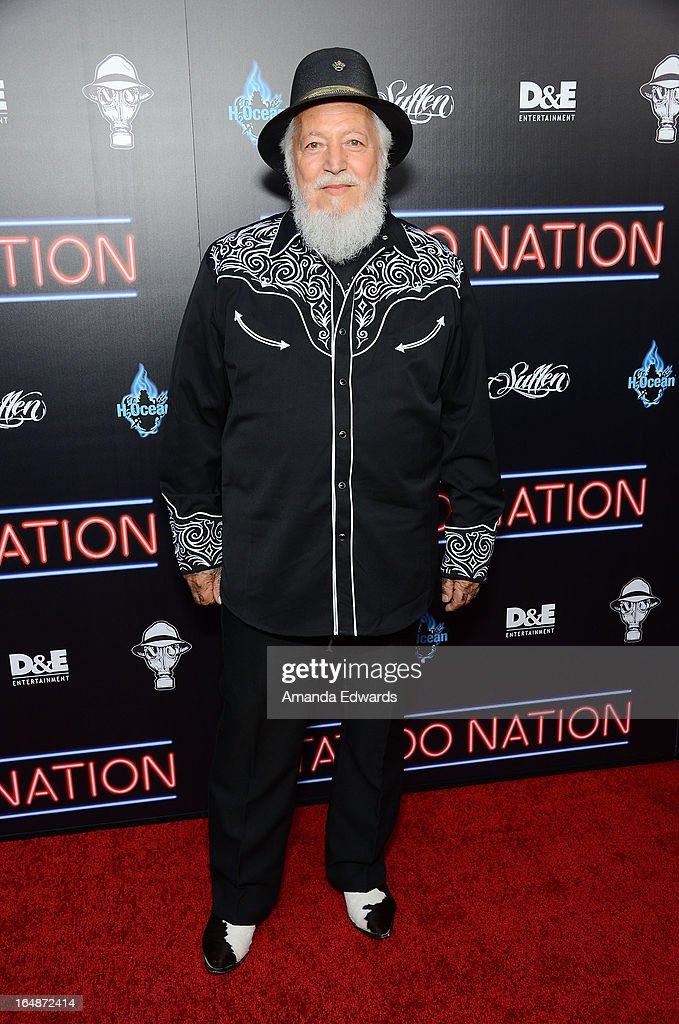 Tattoo artist Charlie Cartwright arrives at the premiere of 'Tattoo Nation' at ArcLight Cinemas on March 28, 2013 in Hollywood, California.