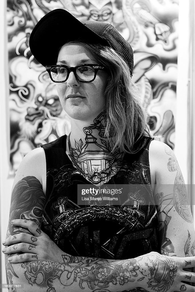 Tattoo artist Holly Saville of 'Sideshhow Tattoos' poses during The Australian Tattoo & Body Art Expo at the Royal Hall of Industries, Moore Park on March 8, 2013 in Sydney, Australia. The annual three day event showcases some of Australia's best tattoo and body artists and is open to enthusiasts March 8-10.