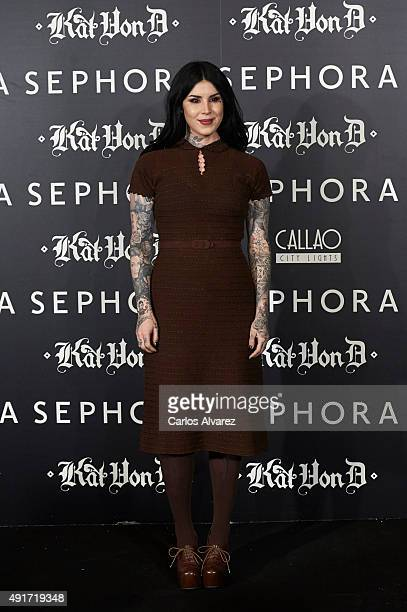 Tattoo Artist Kat Von D presents her new Make Up Collection 'Kat Von D Beauty' at the Callao cinema on October 7 2015 in Madrid Spain