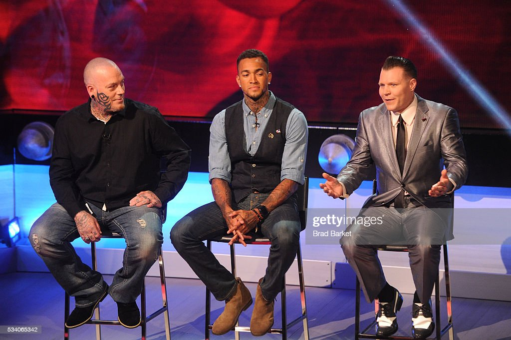 Tattoo artists Christian Buckingham, Anthony Michaels, and Cleen Rock One appear on stage during the 'Ink Master' season 7 LIVE finale on May 24, 2016 in New York City.