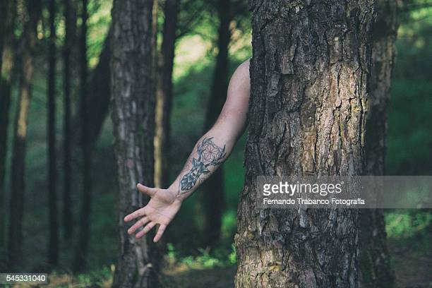 Tattoo deer in the forest