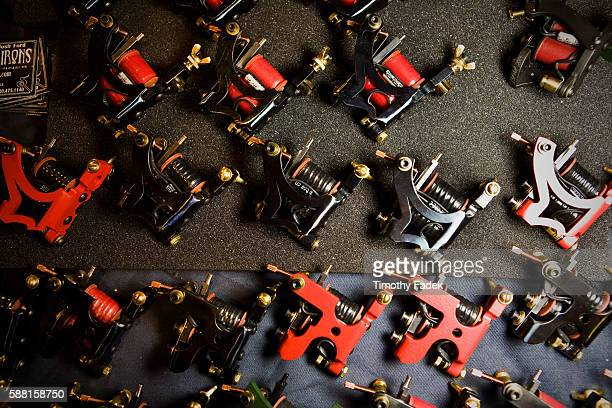 Tattoo machines on display at the 12th Annual New York City Tattoo Convention at Roseland Ballroom in Manhattan