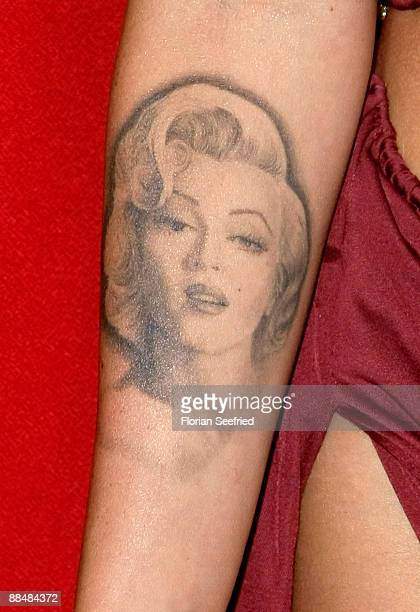 Tattoo of actress Megan Fox on her right arm at the German premiere of 'Transformers Revenge Of The Fallen' at the Sony Center CineStar on June 14...