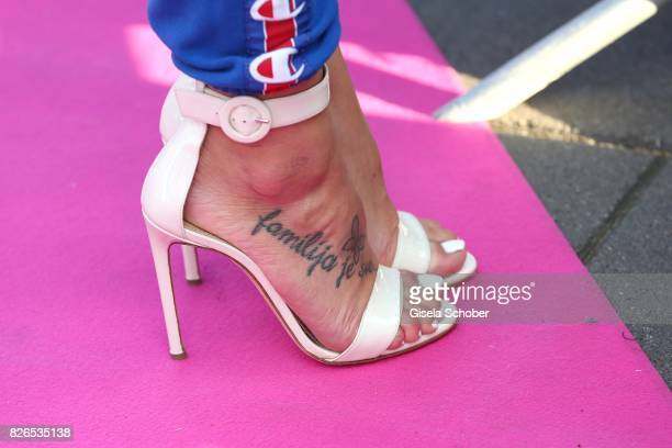 Tattoo of Vanessa Mai during the late night shopping at Designer Outlet Soltau on August 4 2017 in Soltau Germany