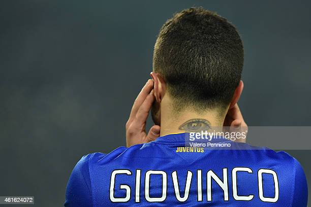 A tattoo on the neck of Sebastian Giovinco of Juventus FC during the TIM Cup match between Juventus FC and Hellas Verona FC at Juventus Arena on...