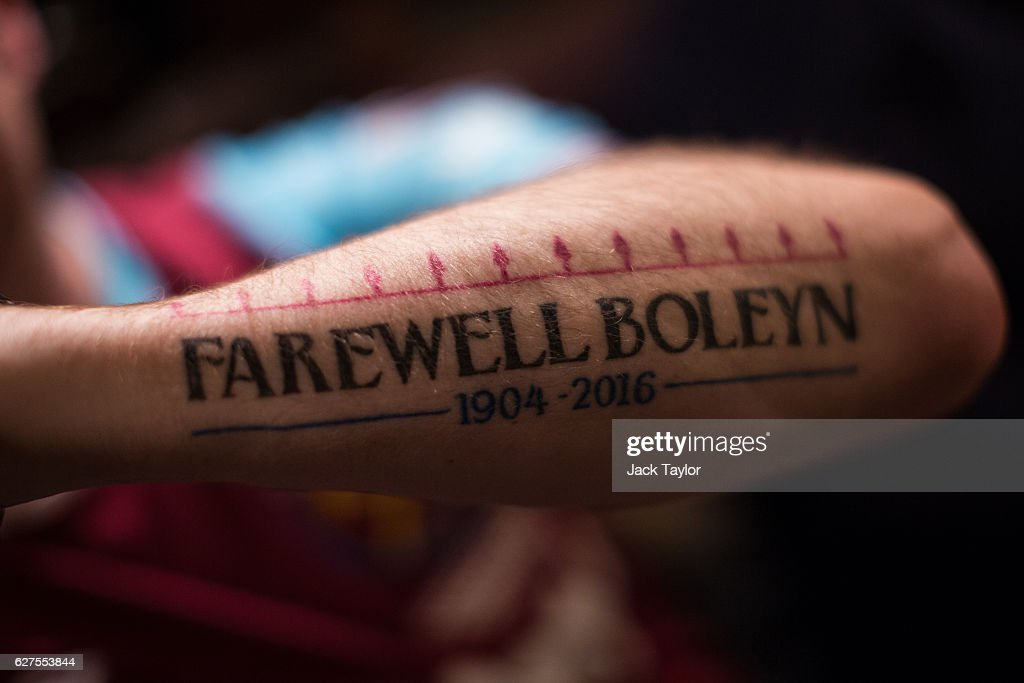 A tattoo which says 'Farewell Boleyn 1904-2016' is pictured on Darren Powers' arm at the Boleyn Pub in Upton Park on December 3, 2016 in London, England. West Ham United played Arsenal in a Premier League match on December 3, which marks more than six months since the football club moved from their Boleyn Ground stadium in Upton Park to the London Stadium in Stratford. Local businesses are suffering as the former West Ham United ground is being demolished to make way for more than 800 homes. (Photo by Jack Taylor/Getty Images