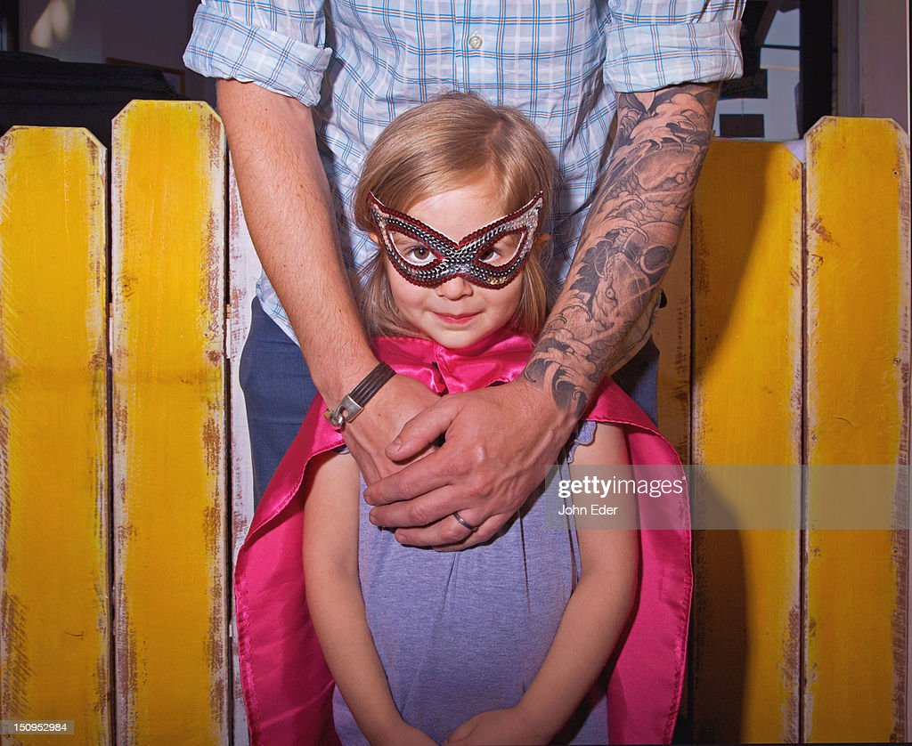 Tattooed Dad and daughter : Stock Photo