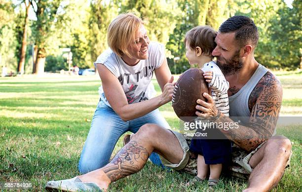 Tattooed Family in the Park