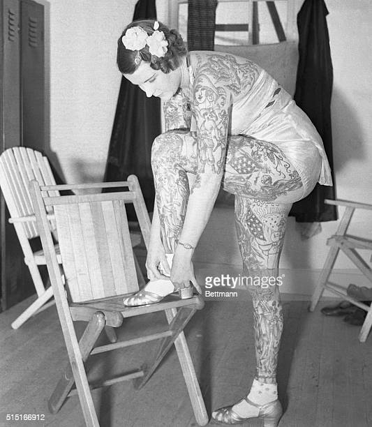 Tattooed Lady Prepares for Appearance at Fair Flushing Queens New York New York Betty Broadbent the tattooed lady who is known as the most beautiful...