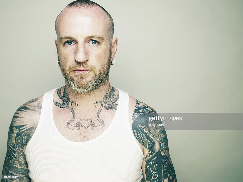 Tattooed Man : Stock Photo