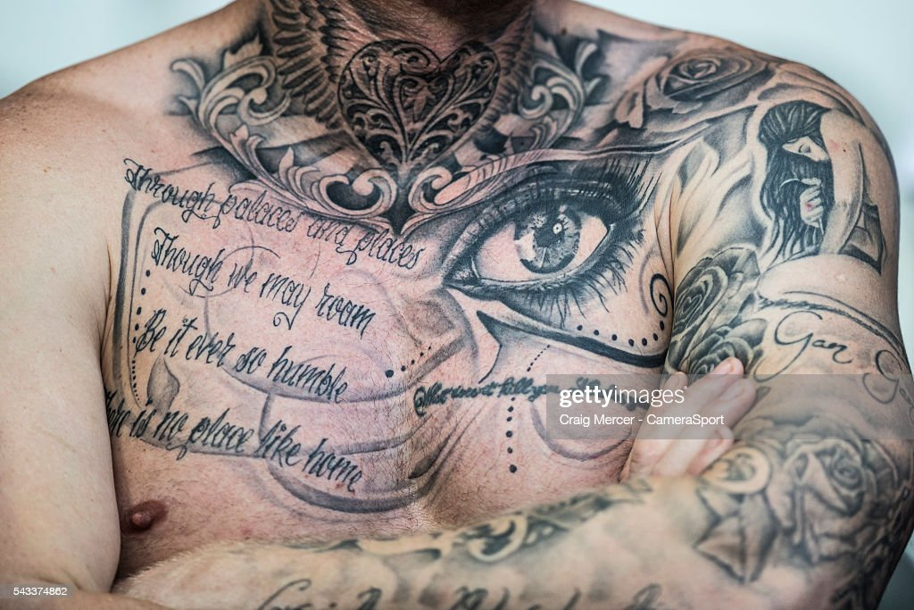 Tattoos on an England fan during the UEFA Euro 2016 Round of 16 match between England and Iceland at Allianz Riviera Stadium on June 27 in Nice, France.