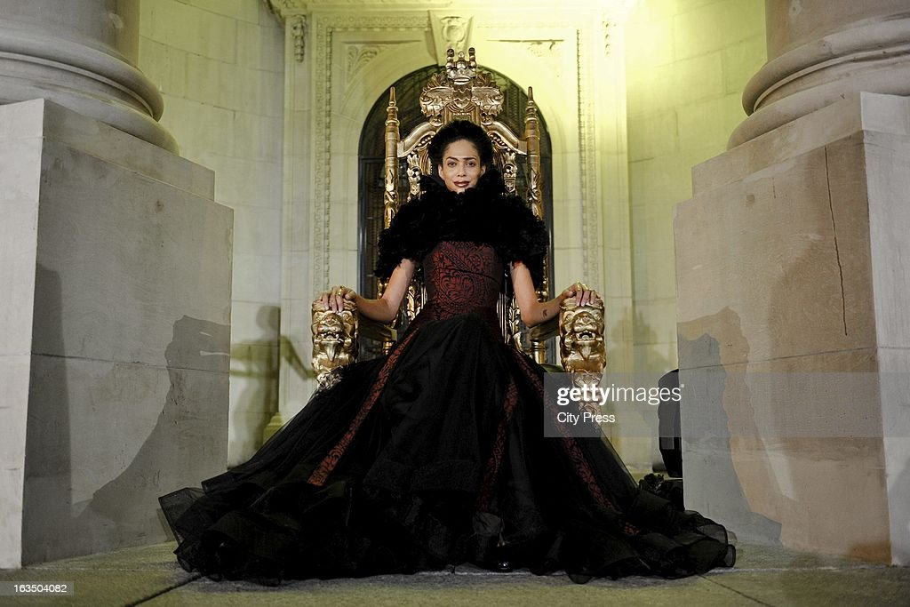 Tatum models a David Tlale design at the Gauteng Legislature building on March 8, 2013, in Johannesburg, South Africa.
