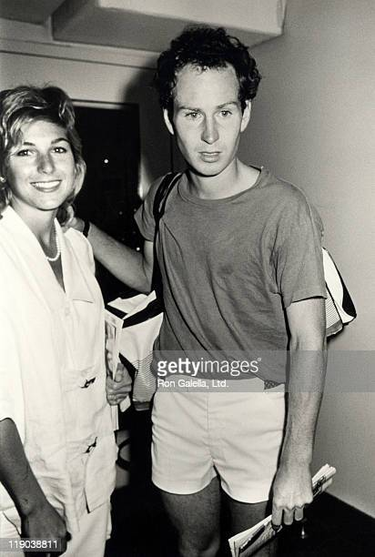 Tatum O'Neal and John McEnroe during US Tennis Open August 27 1985 at Flushing Meadows Park in Queens New York United States
