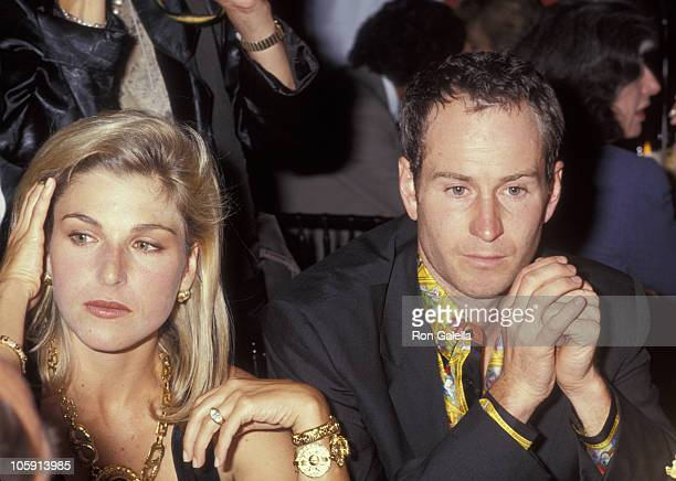 Tatum O'Neal and John McEnroe during Versace Hosts Rock N' Rule Benefit for AmFAR at Park Avenue Armory in New York City New York United States
