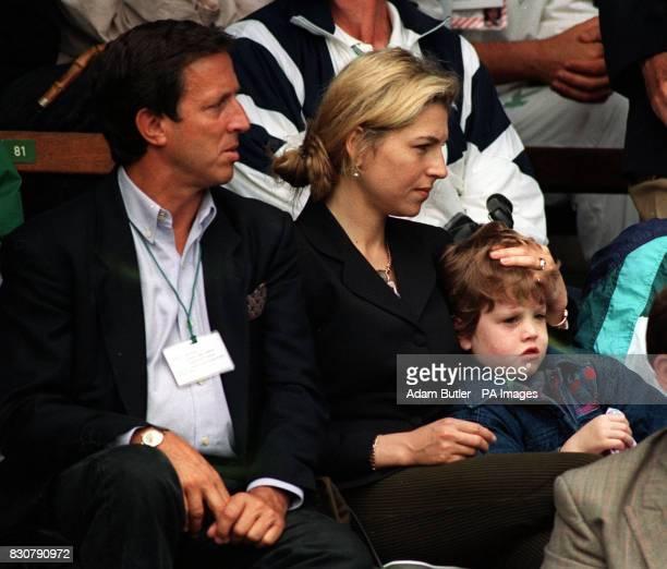 Tatum O'Neal watching her husband John McEnroe win his quarterfinal match on No1 Court at Wimbledon