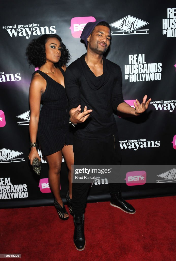 <a gi-track='captionPersonalityLinkClicked' href=/galleries/search?phrase=Tatyana+Ali&family=editorial&specificpeople=847071 ng-click='$event.stopPropagation()'>Tatyana Ali</a> and Damien Wayans attends BET Networks New York Premiere Of 'Real Husbands of Hollywood' And 'Second Generation Wayans' - After Party at 40 / 40 Club on January 14, 2013 in New York City.