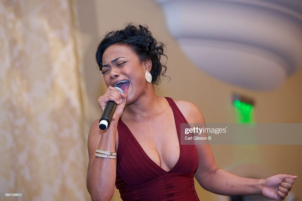 Tatyana Ali performs karaoke at the NAACP Image Awards Nominee's Luncheon Montage Beverly Hills on January 26, 2013 in Beverly Hills, California.