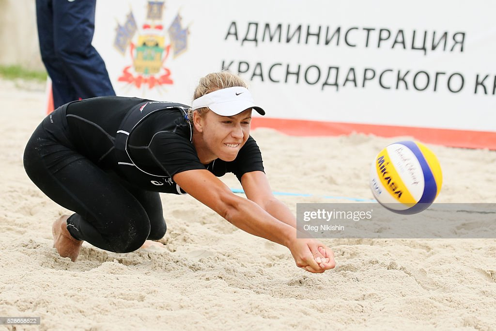 Tatyana Mashkova of Kazakhstan digging during day 4 of FIVB Sochi Open presented by VTB on May 6, 2016 in Sochi, Russia.