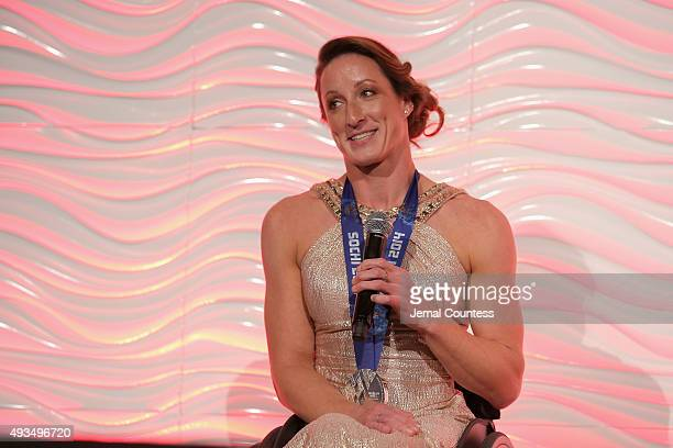 Tatyana McFadden accepts the Wilma Rudolph Courage Award onstage during the 36th Annual Salute to Women In Sports at Cipriani Wall Street on October...