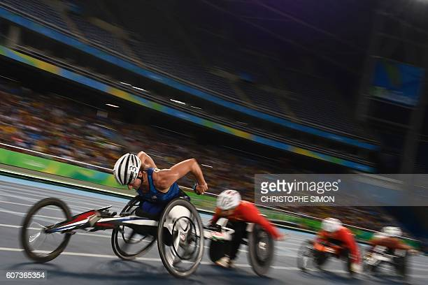 Tatyana McFadden competes and wins the Women's 800M final T54 at the Olympic Stadium at the RIO2016 Paralympic Games in Rio de Janeiro Brazil on...