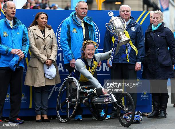 Tatyana McFadden of the United States celebrates after winning the women's push rim wheelchair division of the 119th Boston Marathon on April 20 2015...