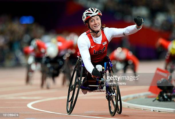 Tatyana Mcfadden of the United States celebrates as she wins gold in the Women's 800m T54 Final on day 7 of the London 2012 Paralympic Games at...