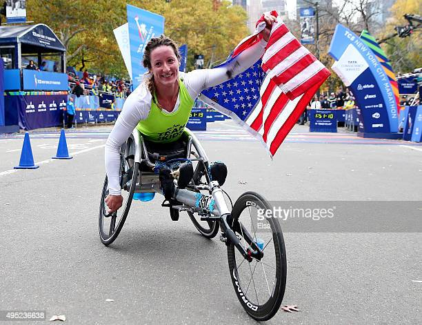 Tatyana McFadden of the United states celebrates her win of the wheelchair division during the TCS New York City Marathon on November 1 2015 in New...