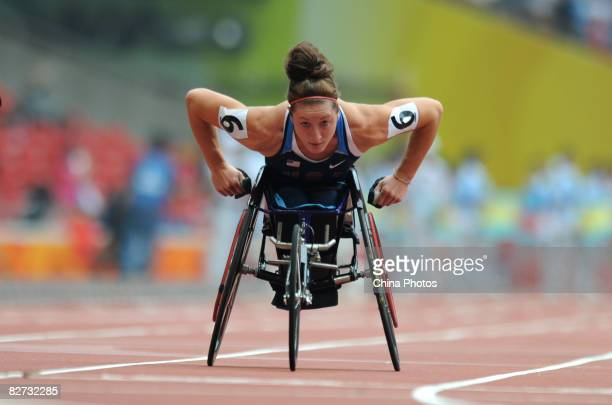 Tatyana McFadden of the United States competes in the Women's 100M T54 round one Athletics event at the National Stadium during day three of the 2008...
