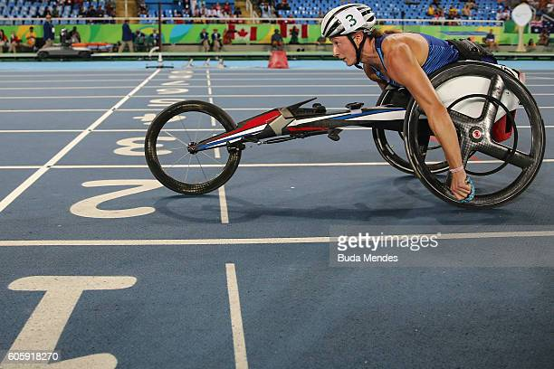 Tatyana McFadden of the United States competes in the Women's 4x400m T53/54 Final on day 8 of the Rio 2016 Paralympic Games at the Olympic Stadium on...