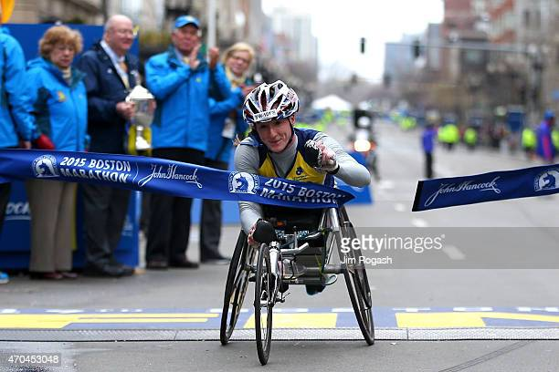 Tatyana McFadden of the United States crosses the finish line to win the women's push rim wheelchair division of the 119th Boston Marathon on April...