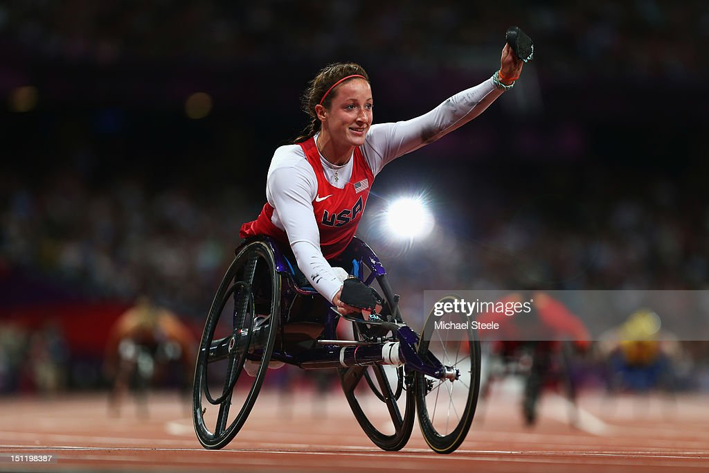 Tatyana Mcfadden of the United States wins gold in the Women's 400m T54 Final on day 5 of the London 2012 Paralympic Games at Olympic Stadium on...