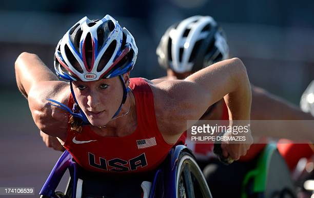 Tatyana McFadden of the US competess in the Women's 5000m T54 semifinal on July 20 2013 during of the IPC Athletics World Championships at the Rhone...