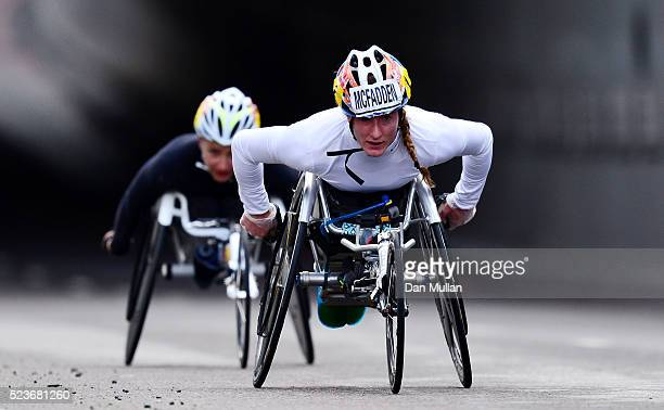 Tatyana Mcfadden of the USA competes in the Women's Wheelchair Race during the Virgin Money London Marathon on April 24 2016 in London England