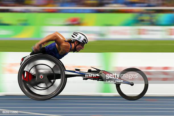 Tatyana McFadden of United States competes in the Women's 4x400m T53/54 final during day 8 of the Rio 2016 Paralympic Games at the Olympic Stadium on...