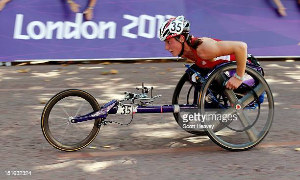 Tatyana McFadden of United States in action during the T54 Women's Marathon on day 11 of the London 2012 Paralympic Games on The Mall on September 9...
