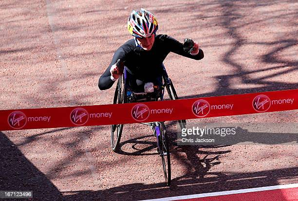 Tatyana McFadden of USA crosses the finish line to win the Womens Elite Wheelchair section during the Virgin London Marathon 2013 on April 21 2013 in...