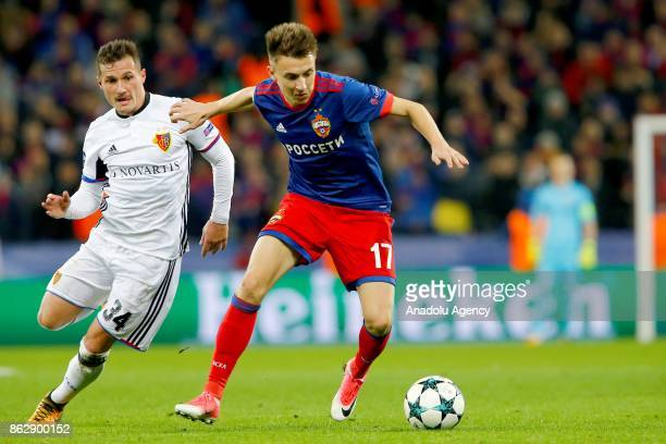 Taulant Xhaka of Basel in action against Aleksandr Golovin of CSKA Moscow during the UEFA Champions League Group A soccer match between CSKA Moscow...