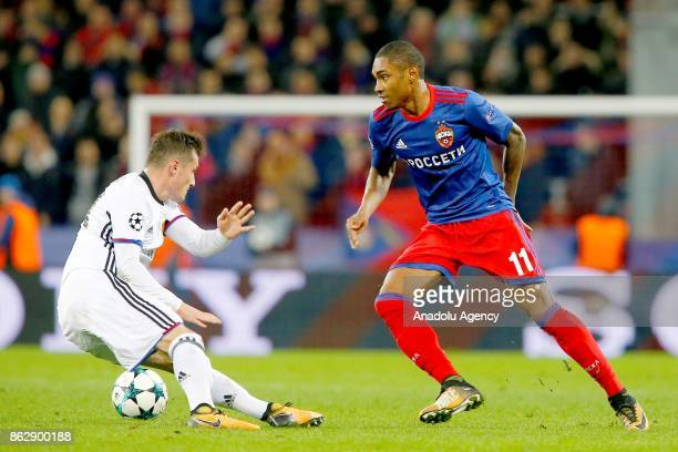 Taulant Xhaka of Basel in action against Vitinho of CSKA Moscow during the UEFA Champions League Group A soccer match between CSKA Moscow and Basel...