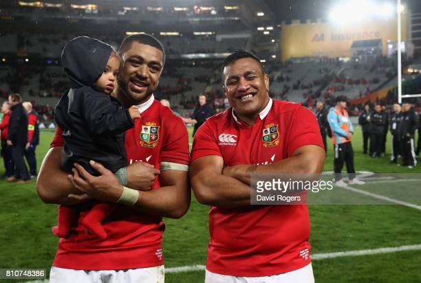 Taulupe Faletau and Mako Vunipola of the Lions celebrate after they draw the final test 1515 and tie the series during the Test match between the New...